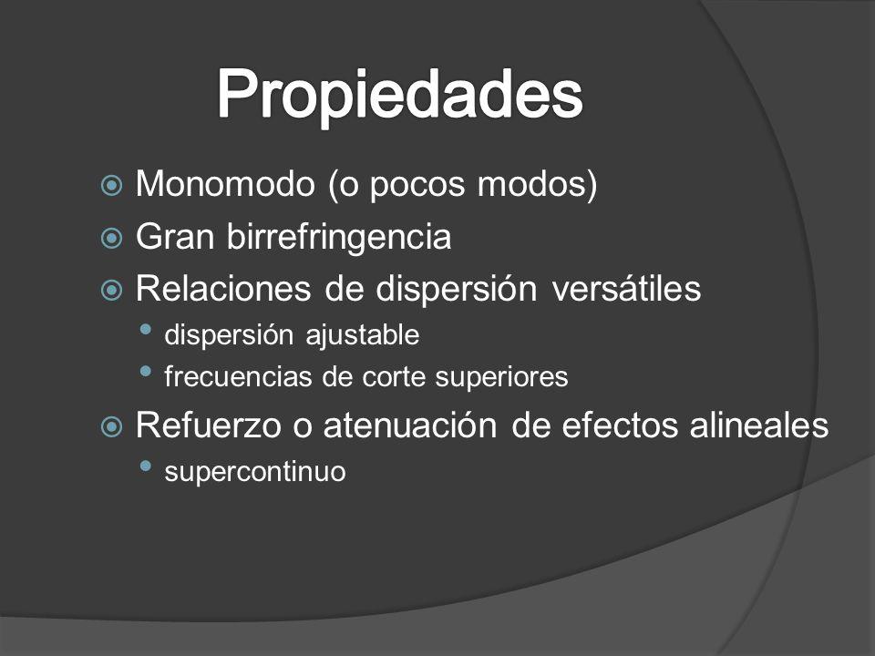 Monomodo (o pocos modos) Gran birrefringencia Relaciones de dispersión versátiles dispersión ajustable frecuencias de corte superiores Refuerzo o aten