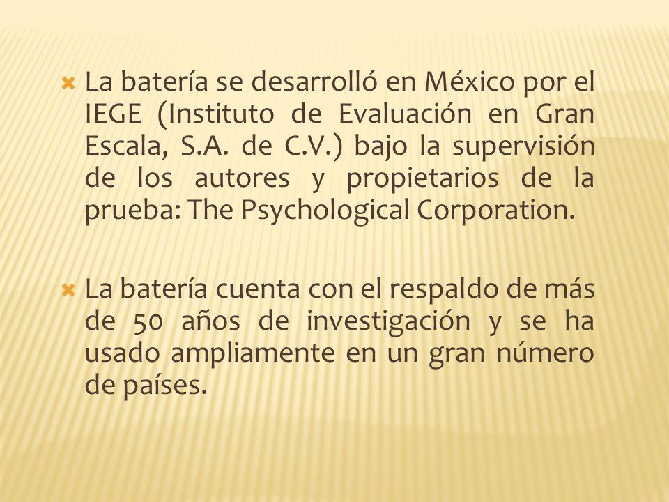 La batería se desarrolló en México por el IEGE (Instituto de Evaluación en Gran Escala, S.A. de C.V.) bajo la supervisión de los autores y propietario