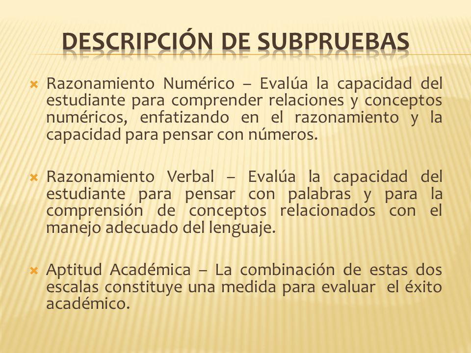 Razonamiento Numérico – Evalúa la capacidad del estudiante para comprender relaciones y conceptos numéricos, enfatizando en el razonamiento y la capac