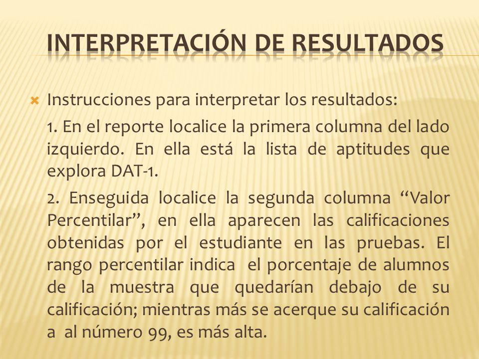 Instrucciones para interpretar los resultados: 1. En el reporte localice la primera columna del lado izquierdo. En ella está la lista de aptitudes que