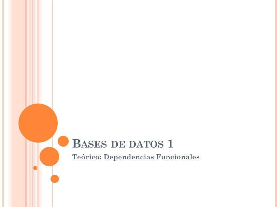 D EPENDENCIAS F UNCIONALES Dependencias Funcionales - Definición Clausura de F Reglas de inferencia para las dfs Clausura de X Equivalencia de conjuntos de dfs Conjunto minimal de dfs