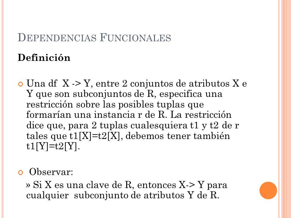 D EPENDENCIAS F UNCIONALES Definición Una df X -> Y, entre 2 conjuntos de atributos X e Y que son subconjuntos de R, especifica una restricción sobre