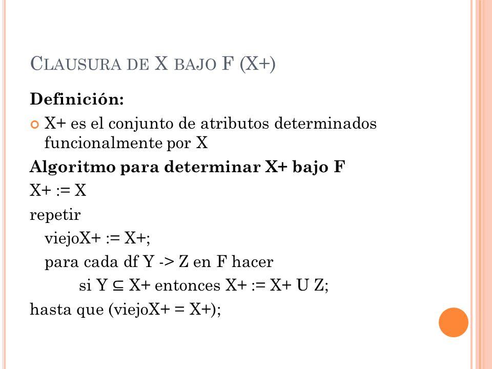 C LAUSURA DE X BAJO F (X+) Ejemplo: Dado EMP_PROY( NSS, NUMEROP, HORAS, NOMBREE,NOMBREPR, LUGARP) F = { NSS -> NOMBREE;NUMEROP -> NOMBREPR,LUGARP;NSS,NUMEROP -> HORAS } { NSS }+ = {NSS,NOMBREE} { NUMEROP }+ = {NUMEROP,NOMBREPR,LUGARP}