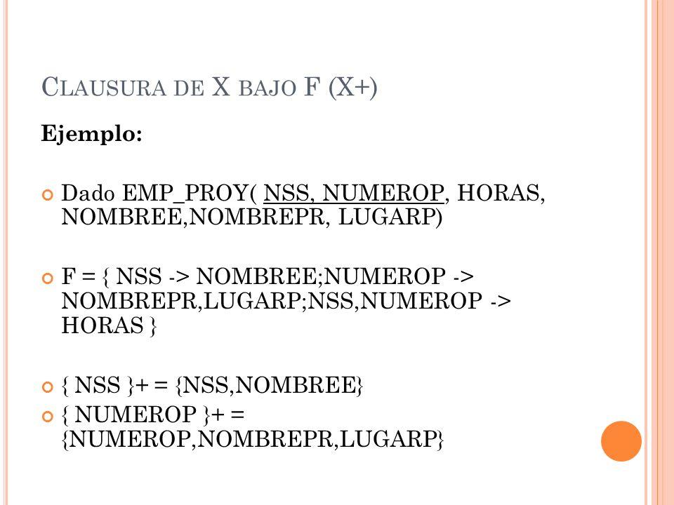 C LAUSURA DE X BAJO F (X+) { NSS, NUMEROP }+ = {NSS,NUMEROP,NOMBREE,NOMBREPR, LUGARP, HORAS} Observar que no es simplemente la unión de las clausuras de los elementos del conjunto.
