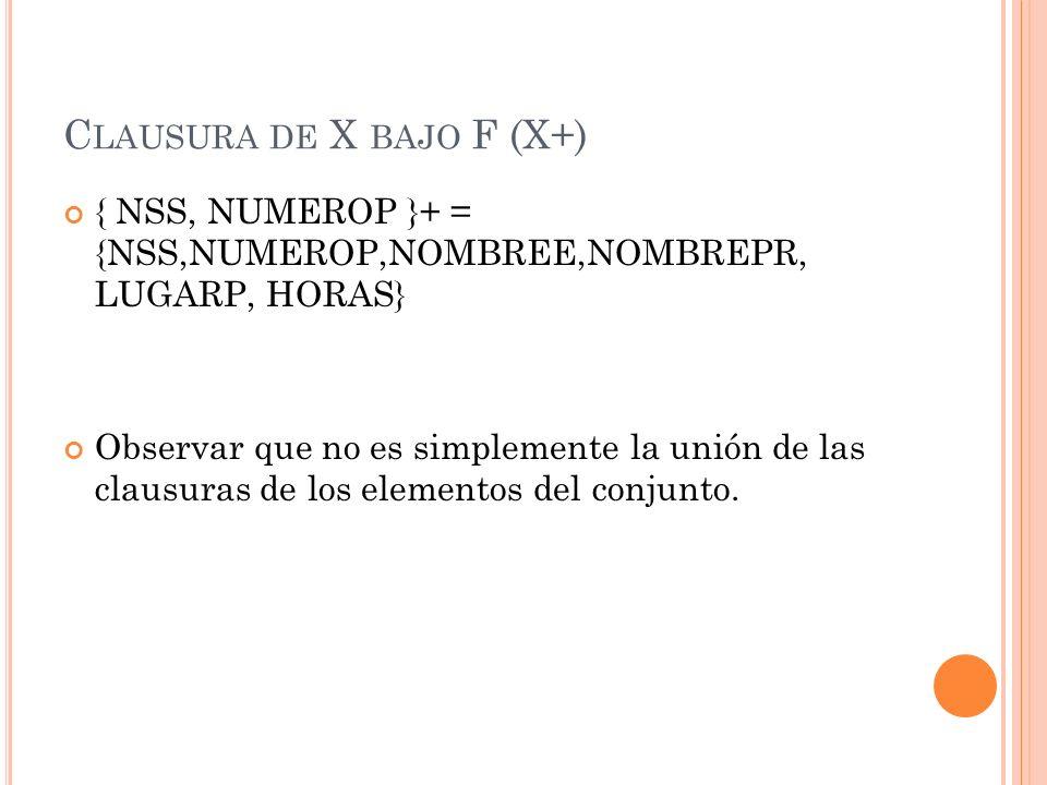 C LAUSURA DE X BAJO F (X+) { NSS, NUMEROP }+ = {NSS,NUMEROP,NOMBREE,NOMBREPR, LUGARP, HORAS} Observar que no es simplemente la unión de las clausuras
