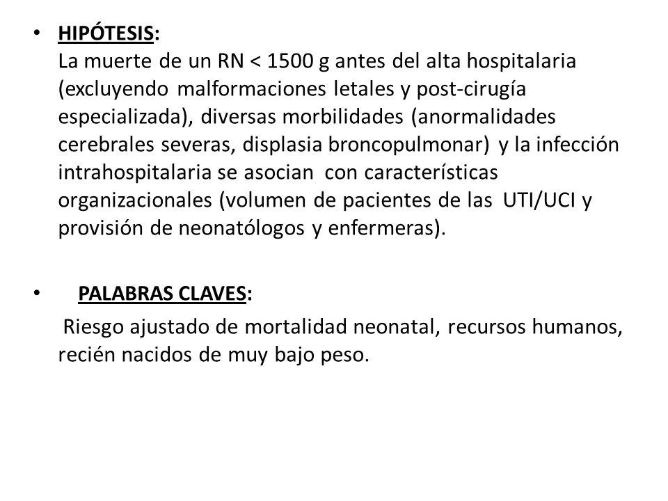HIPÓTESIS: La muerte de un RN < 1500 g antes del alta hospitalaria (excluyendo malformaciones letales y post-cirugía especializada), diversas morbilid