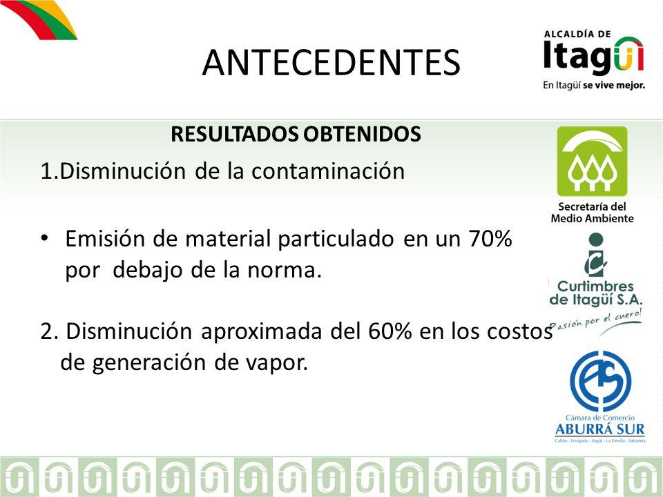 EMPRESA ANTECEDENTES RESULTADOS OBTENIDOS 1.Disminución de la contaminación Emisión de material particulado en un 70% por debajo de la norma. 2. Dismi