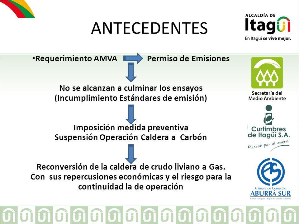 EMPRESA ANTECEDENTES Requerimiento AMVA Permiso de Emisiones No se alcanzan a culminar los ensayos (Incumplimiento Estándares de emisión) Imposición m