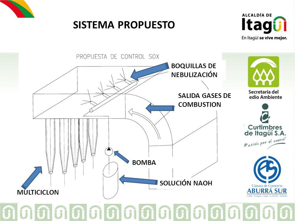 EMPRESA SISTEMA PROPUESTO BOQUILLAS DE NEBULIZACIÓN SALIDA GASES DE COMBUSTION SOLUCIÓN NAOH MULTICICLON BOMBA