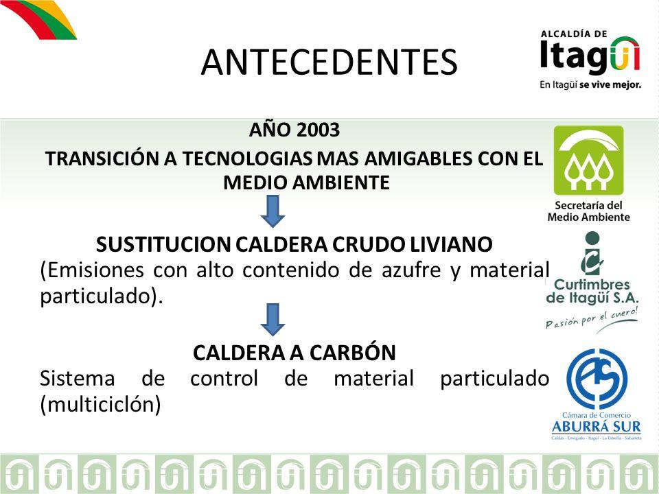 EMPRESA ANTECEDENTES AÑO 2003 TRANSICIÓN A TECNOLOGIAS MAS AMIGABLES CON EL MEDIO AMBIENTE SUSTITUCION CALDERA CRUDO LIVIANO (Emisiones con alto conte