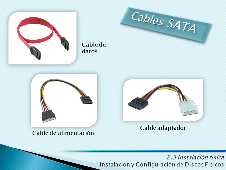 Cable de alimentación Cable adaptador Cable de datos