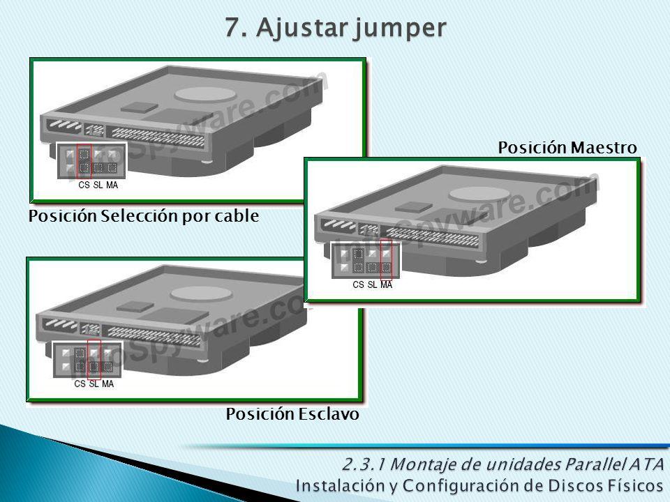 7. Ajustar jumper Posición Maestro Posición Esclavo Posición Selección por cable
