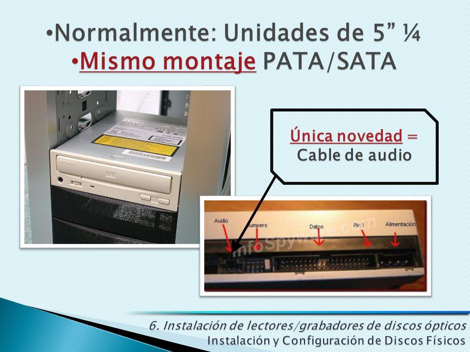 Normalmente: Unidades de 5 ¼ Normalmente: Unidades de 5 ¼ Mismo montaje PATA/SATA Mismo montaje PATA/SATA
