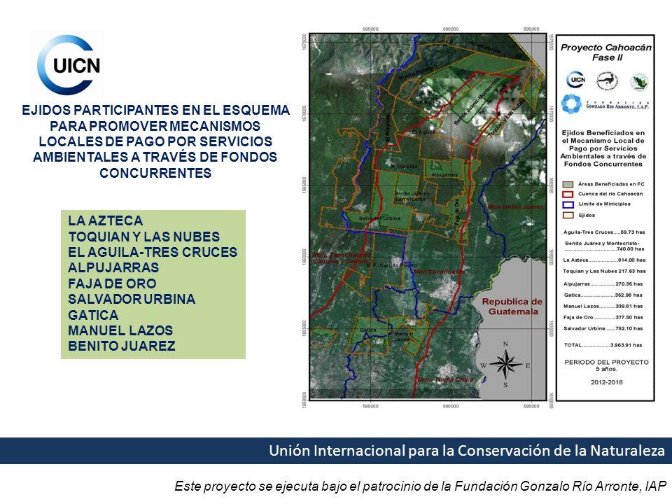 Este proyecto se ejecuta bajo el patrocinio de la Fundación Gonzalo Río Arronte, IAP Unión Internacional para la Conservación de la Naturaleza EJIDOS PARTICIPANTES EN EL ESQUEMA PARA PROMOVER MECANISMOS LOCALES DE PAGO POR SERVICIOS AMBIENTALES A TRAVÉS DE FONDOS CONCURRENTES LA AZTECA TOQUIAN Y LAS NUBES EL AGUILA-TRES CRUCES ALPUJARRAS FAJA DE ORO SALVADOR URBINA GATICA MANUEL LAZOS BENITO JUAREZ