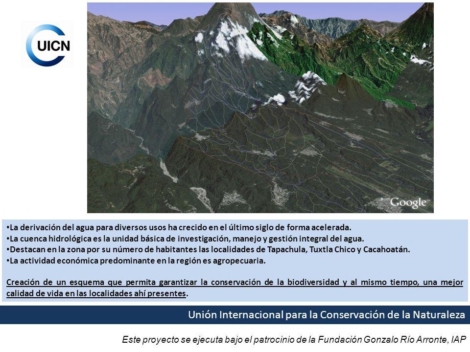 Este proyecto se ejecuta bajo el patrocinio de la Fundación Gonzalo Río Arronte, IAP Unión Internacional para la Conservación de la Naturaleza La derivación del agua para diversos usos ha crecido en el último siglo de forma acelerada.