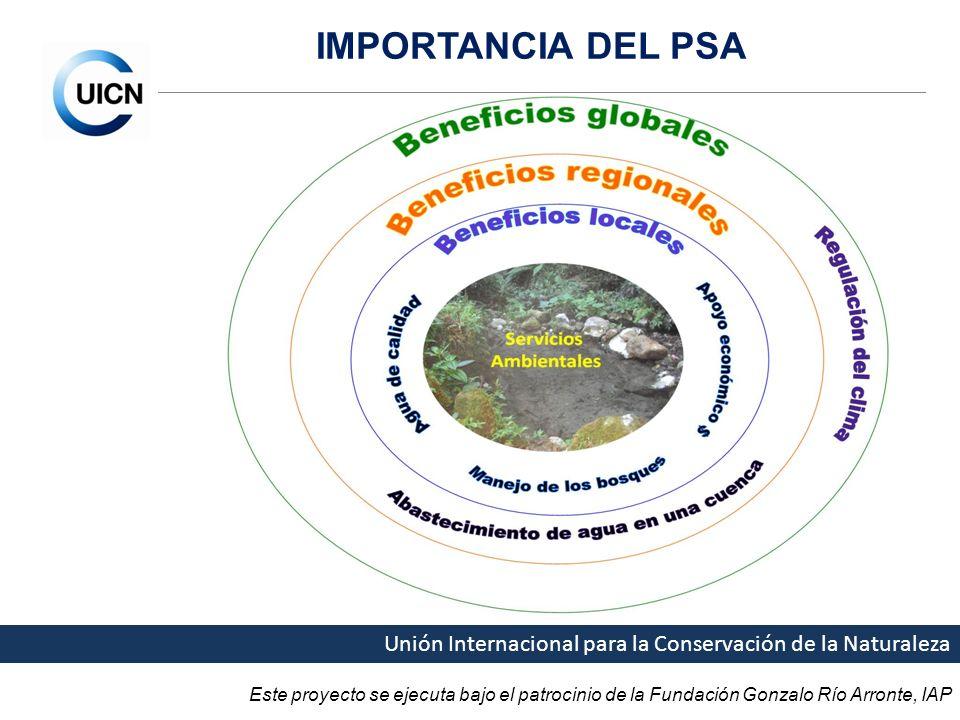 Este proyecto se ejecuta bajo el patrocinio de la Fundación Gonzalo Río Arronte, IAP Unión Internacional para la Conservación de la Naturaleza IMPORTANCIA DEL PSA