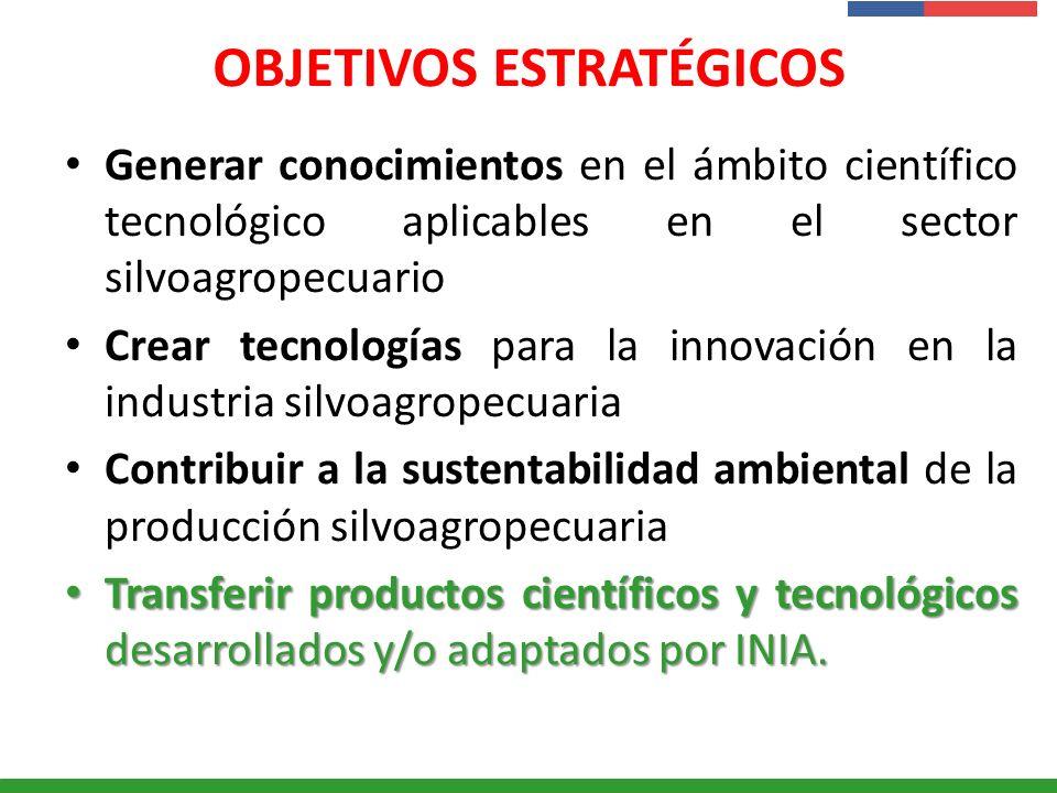 Presentación Institucional Instituto de Investigaciones Agropecuarias - INIA OBJETIVOS ESTRATÉGICOS Generar conocimientos en el ámbito científico tecn