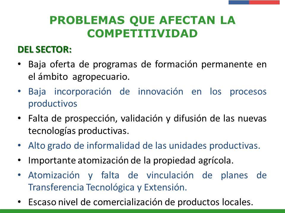 Presentación Institucional Instituto de Investigaciones Agropecuarias - INIA PROBLEMAS QUE AFECTAN LA COMPETITIVIDAD DEL SECTOR: Baja oferta de progra