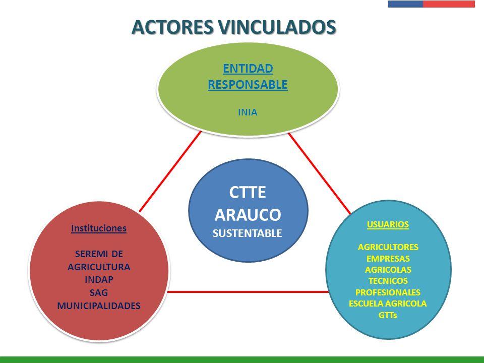 Presentación Institucional Instituto de Investigaciones Agropecuarias - INIA ACTORES VINCULADOS CTTE ARAUCO SUSTENTABLE ENTIDAD RESPONSABLE INIA ENTID