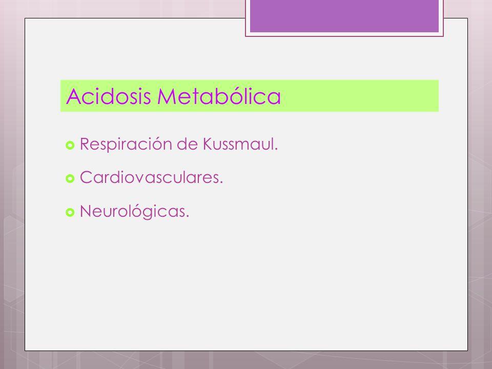 Respiración de Kussmaul. Cardiovasculares. Neurológicas.