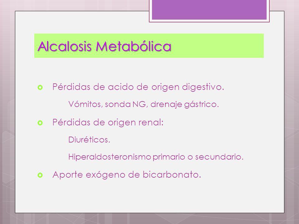 Alcalosis Metabólica Pérdidas de acido de origen digestivo. Vómitos, sonda NG, drenaje gástrico. Pérdidas de origen renal: Diuréticos. Hiperaldosteron