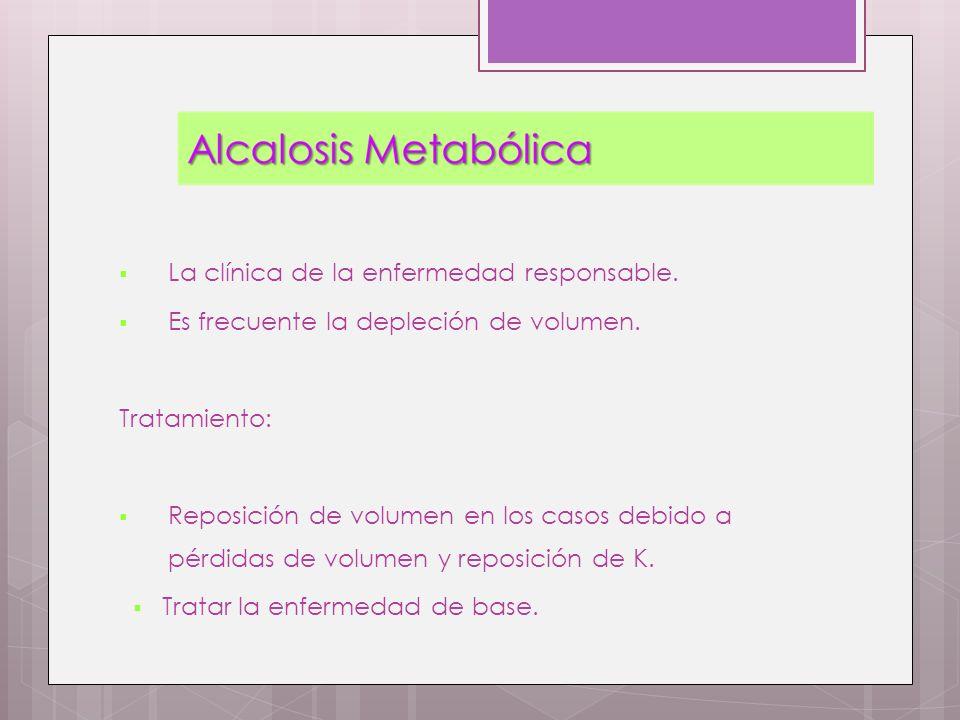 La clínica de la enfermedad responsable. Es frecuente la depleción de volumen. Tratamiento: Reposición de volumen en los casos debido a pérdidas de vo