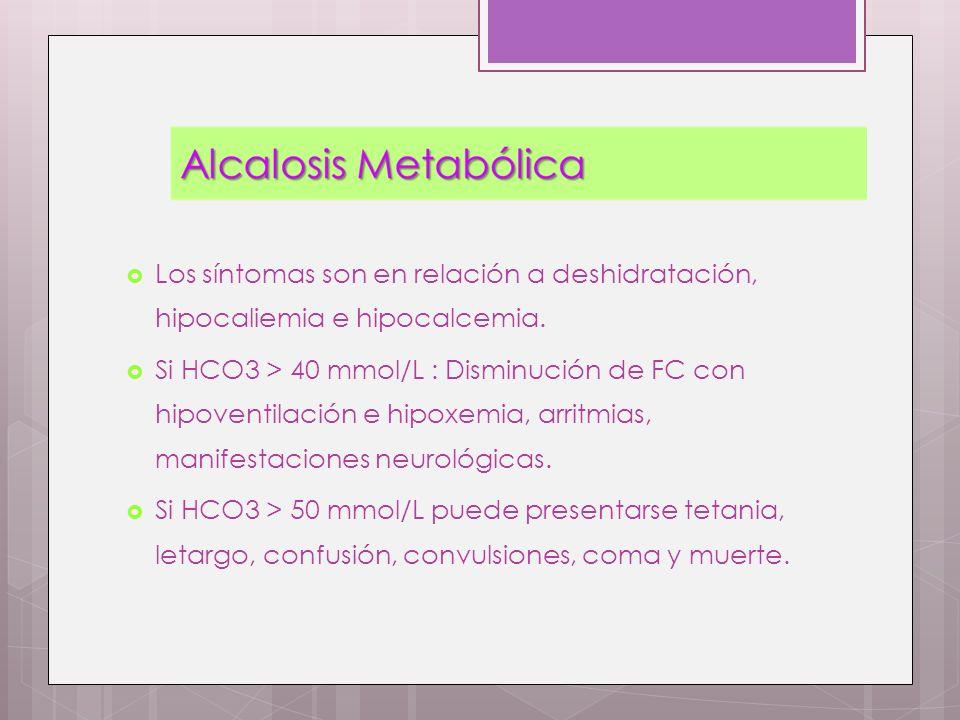 Los síntomas son en relación a deshidratación, hipocaliemia e hipocalcemia. Si HCO3 > 40 mmol/L : Disminución de FC con hipoventilación e hipoxemia, a