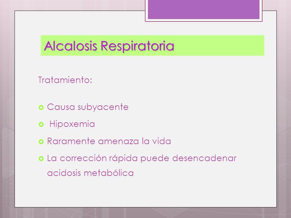 Tratamiento: Causa subyacente Hipoxemia Raramente amenaza la vida La corrección rápida puede desencadenar acidosis metabólica