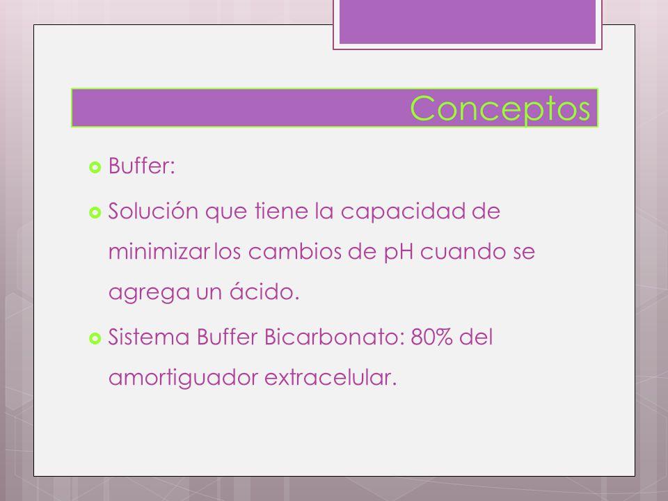 Buffer: Solución que tiene la capacidad de minimizar los cambios de pH cuando se agrega un ácido. Sistema Buffer Bicarbonato: 80% del amortiguador ext