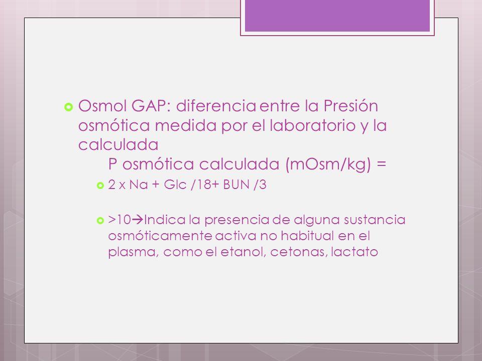 Osmol GAP: diferencia entre la Presión osmótica medida por el laboratorio y la calculada P osmótica calculada (mOsm/kg) = 2 x Na + Glc /18+ BUN /3 >10