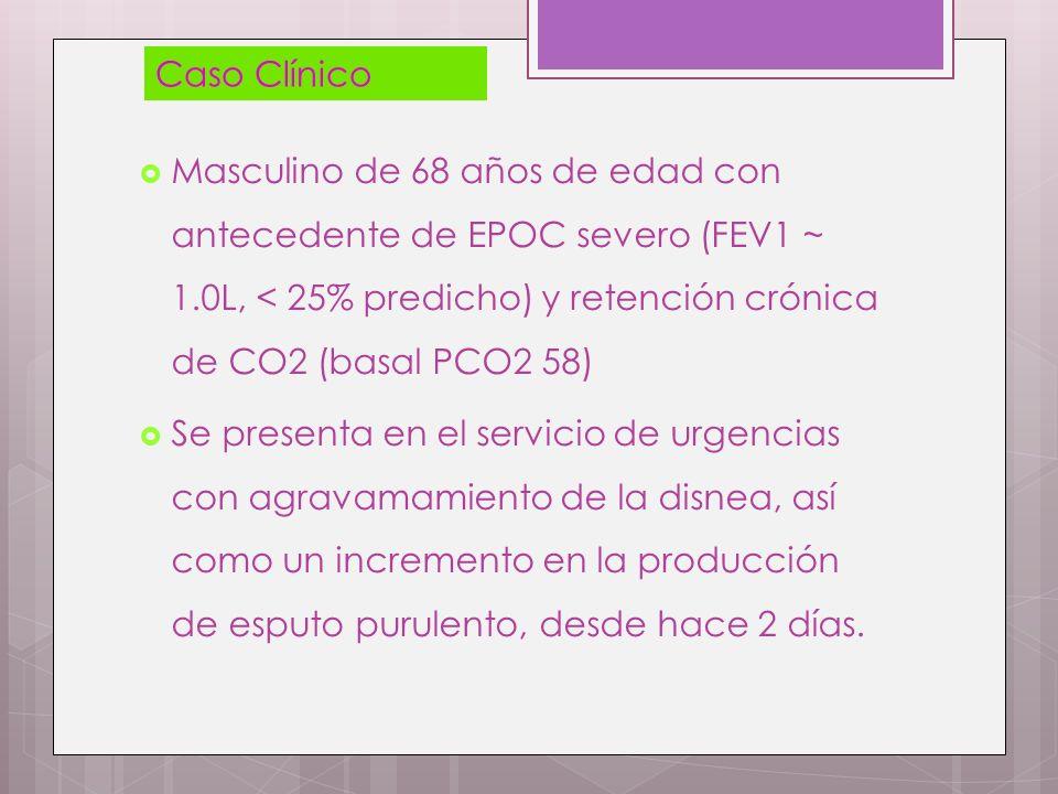 Masculino de 68 años de edad con antecedente de EPOC severo (FEV1 ~ 1.0L, < 25% predicho) y retención crónica de CO2 (basal PCO2 58) Se presenta en el