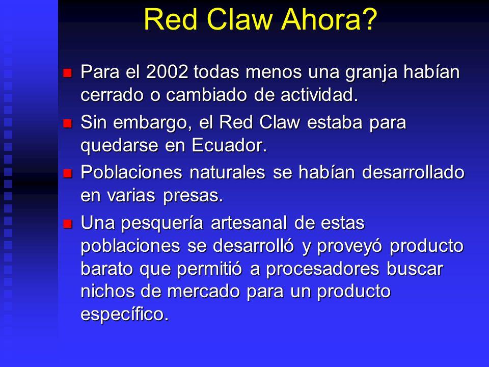 Red Claw Ahora? Para el 2002 todas menos una granja habían cerrado o cambiado de actividad. Para el 2002 todas menos una granja habían cerrado o cambi
