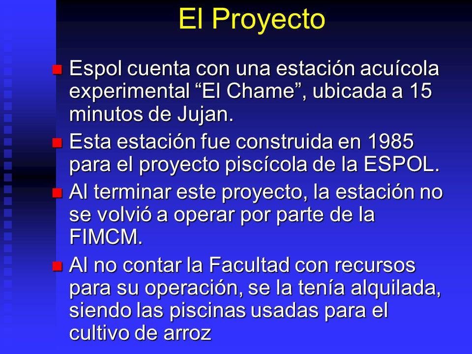 El Proyecto Espol cuenta con una estación acuícola experimental El Chame, ubicada a 15 minutos de Jujan. Espol cuenta con una estación acuícola experi