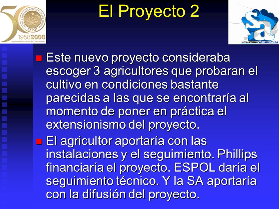 El Proyecto 2 Este nuevo proyecto consideraba escoger 3 agricultores que probaran el cultivo en condiciones bastante parecidas a las que se encontrarí
