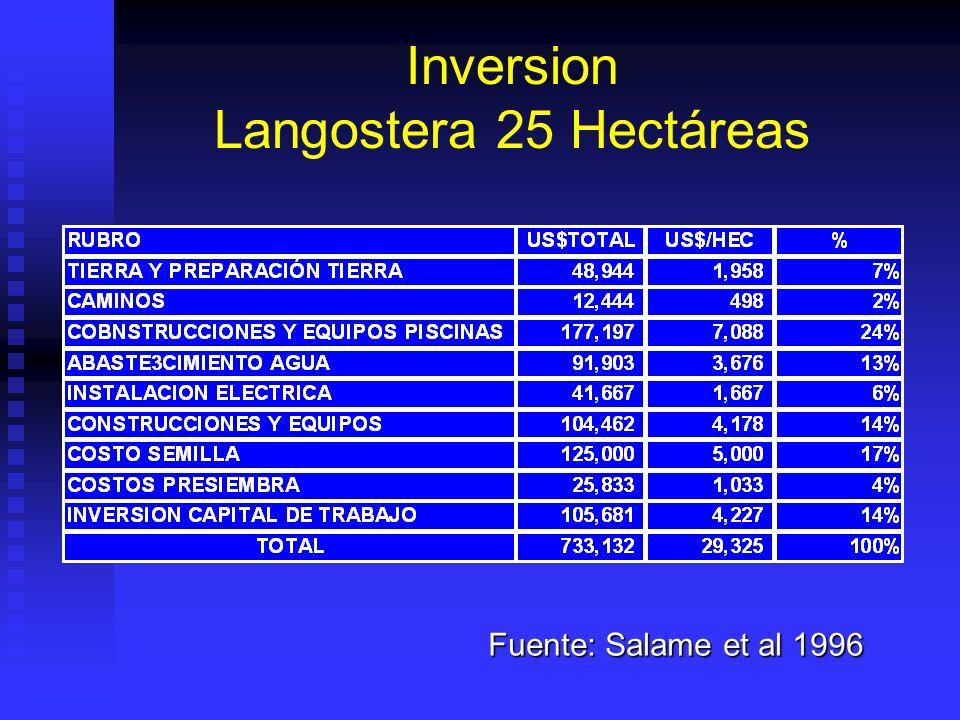 Costo Operativo Mensual Langostera 25 Hectáreas Fuente: Salame et al 1996