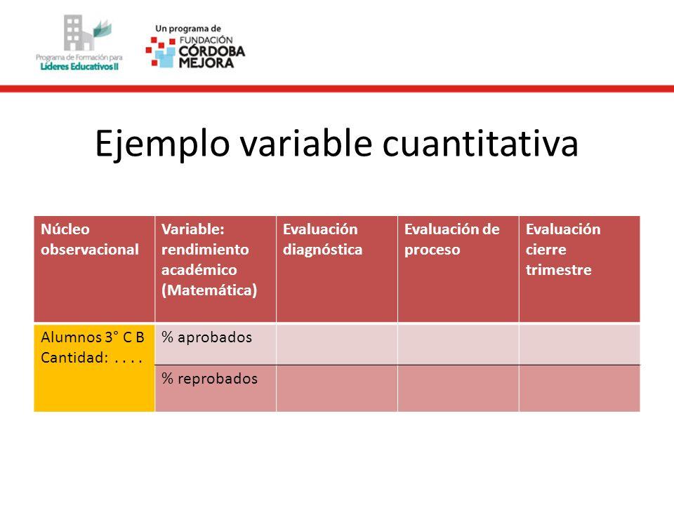 Ejemplo variable cuantitativa Núcleo observacional Variable: rendimiento académico (Matemática) Evaluación diagnóstica Evaluación de proceso Evaluació