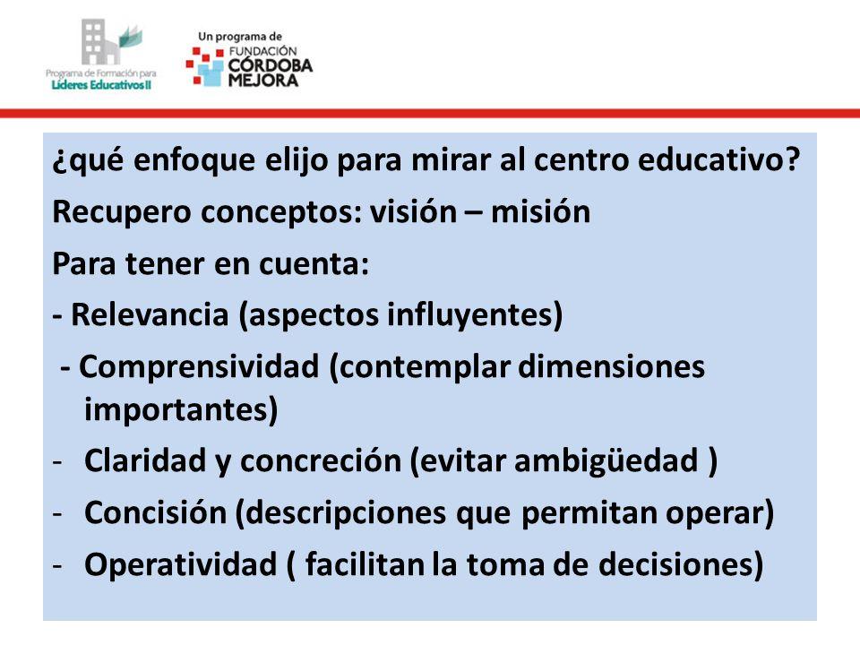 ¿qué enfoque elijo para mirar al centro educativo? Recupero conceptos: visión – misión Para tener en cuenta: - Relevancia (aspectos influyentes) - Com