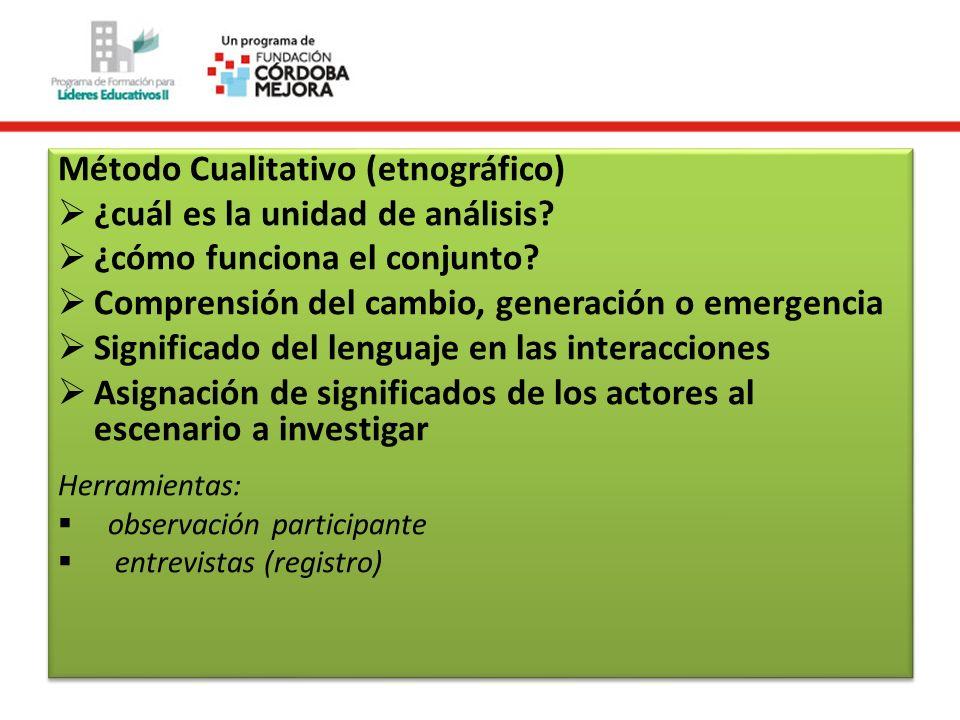 Método Cualitativo (etnográfico) ¿cuál es la unidad de análisis? ¿cómo funciona el conjunto? Comprensión del cambio, generación o emergencia Significa