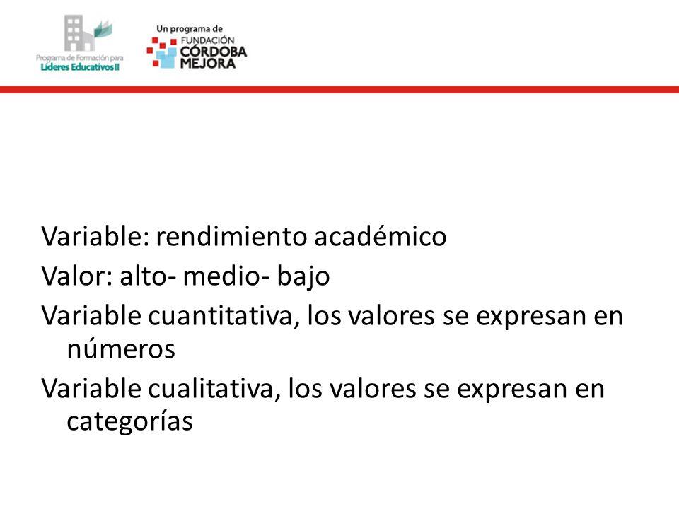 Variable: rendimiento académico Valor: alto- medio- bajo Variable cuantitativa, los valores se expresan en números Variable cualitativa, los valores s