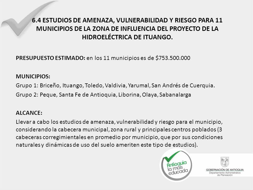 6.4 ESTUDIOS DE AMENAZA, VULNERABILIDAD Y RIESGO PARA 11 MUNICIPIOS DE LA ZONA DE INFLUENCIA DEL PROYECTO DE LA HIDROELÉCTRICA DE ITUANGO. PRESUPUESTO
