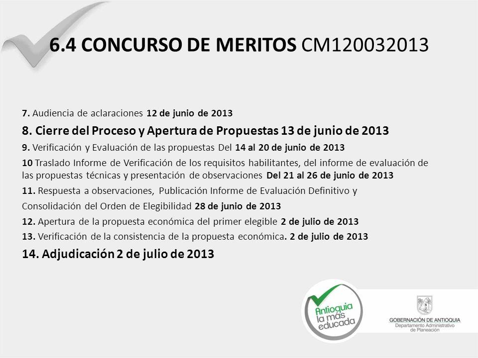 6.4 CONCURSO DE MERITOS CM120032013 7. Audiencia de aclaraciones 12 de junio de 2013 8. Cierre del Proceso y Apertura de Propuestas 13 de junio de 201
