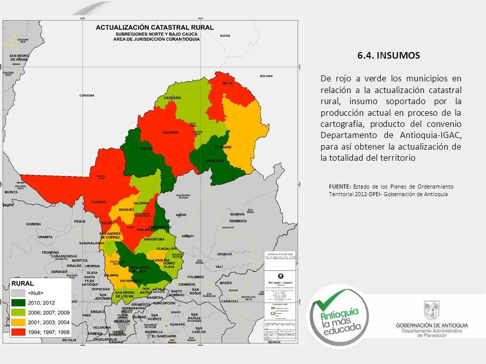 De rojo a verde los municipios en relación a la actualización catastral rural, insumo soportado por la producción actual en proceso de la cartografía,