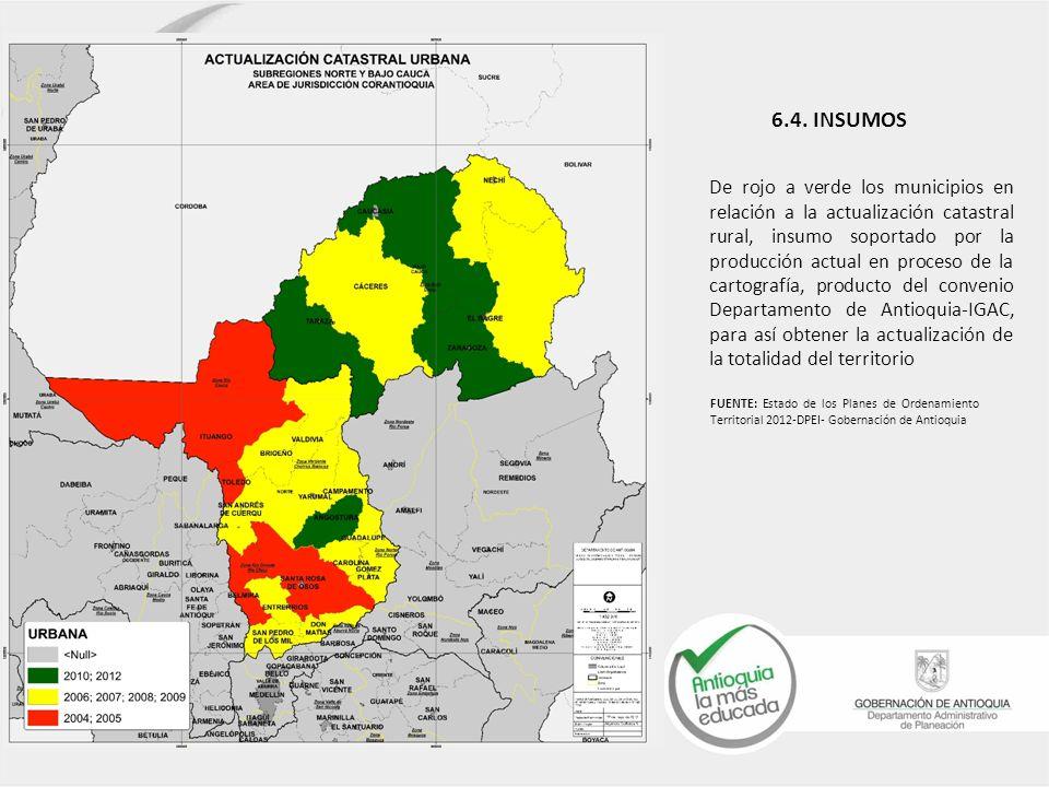 6.4. INSUMOS De rojo a verde los municipios en relación a la actualización catastral rural, insumo soportado por la producción actual en proceso de la