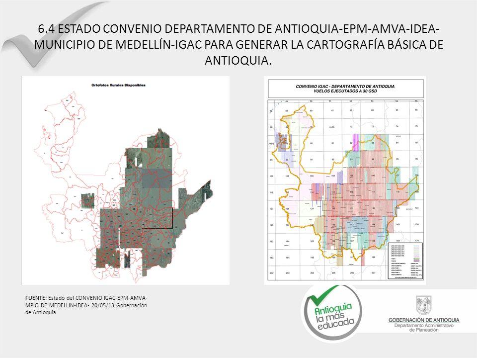 6.4 ESTADO CONVENIO DEPARTAMENTO DE ANTIOQUIA-EPM-AMVA-IDEA- MUNICIPIO DE MEDELLÍN-IGAC PARA GENERAR LA CARTOGRAFÍA BÁSICA DE ANTIOQUIA. FUENTE: Estad