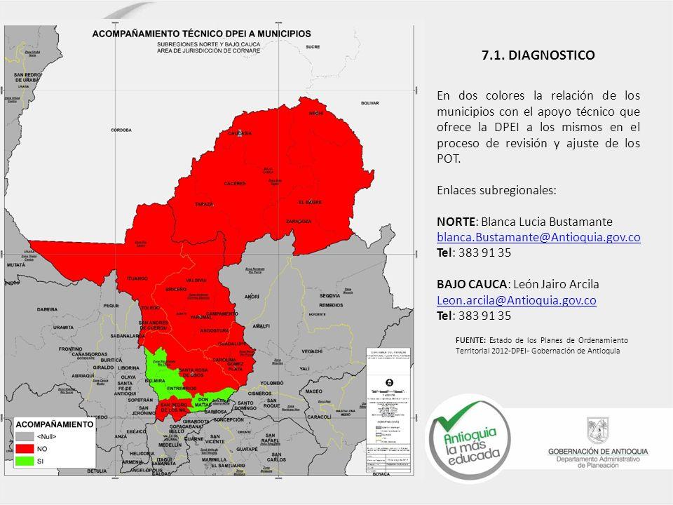 En dos colores la relación de los municipios con el apoyo técnico que ofrece la DPEI a los mismos en el proceso de revisión y ajuste de los POT. Enlac