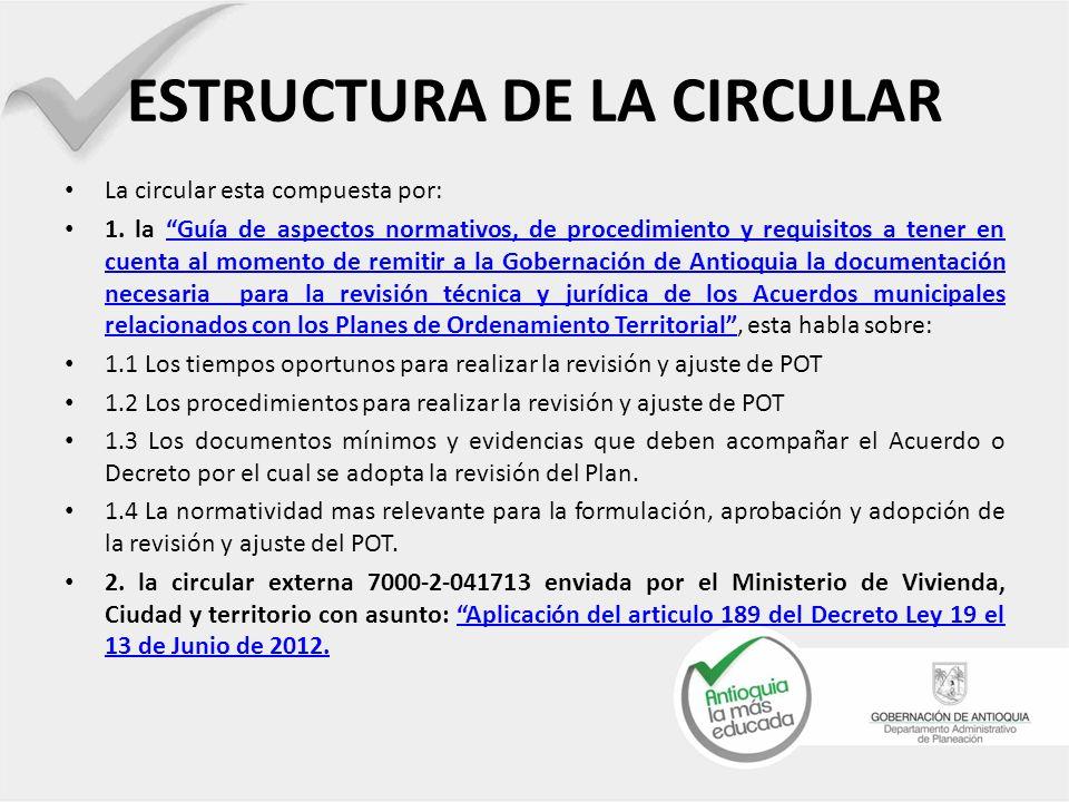 ESTRUCTURA DE LA CIRCULAR La circular esta compuesta por: 1. la Guía de aspectos normativos, de procedimiento y requisitos a tener en cuenta al moment