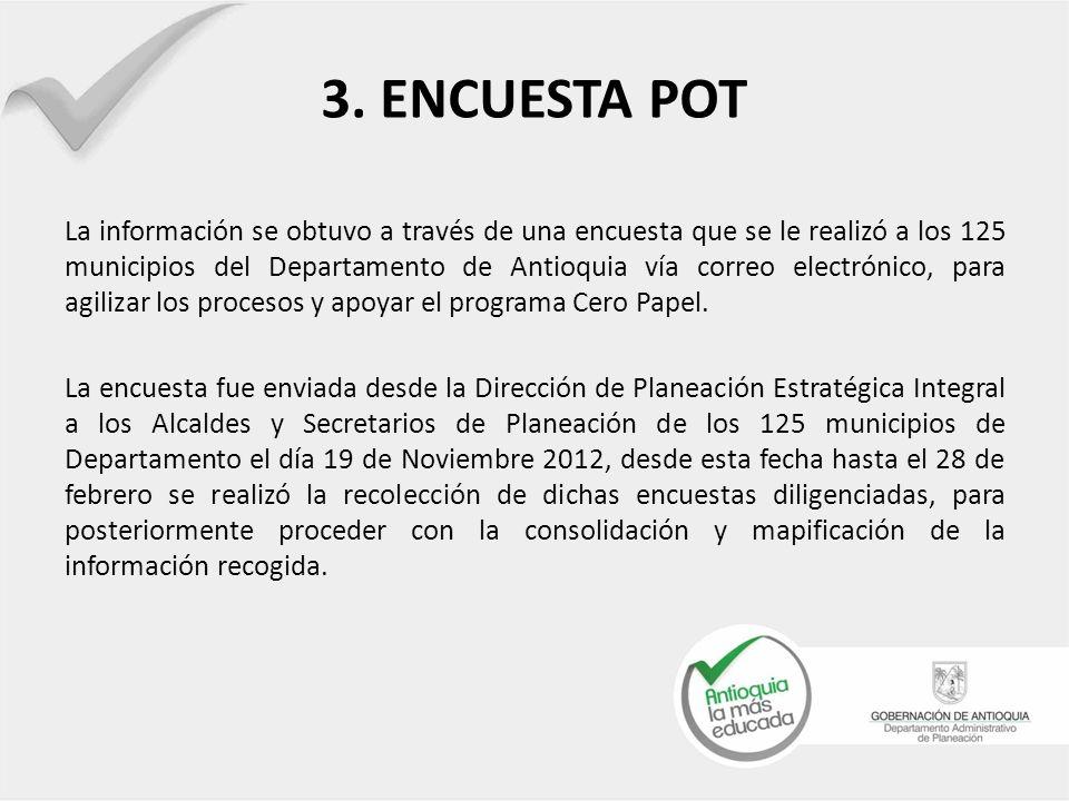 En dos colores la relación de los municipios y el presupuesto planteado por la administración municipal para el cuatrienio 2012- 2015 a revisión y ajuste de su POT.