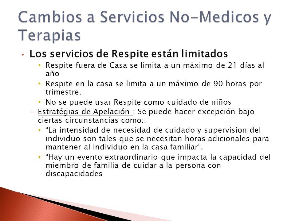 Los servicios de Respite están limitados Respite fuera de Casa se limita a un máximo de 21 días al año Respite en la casa se limita a un máximo de 90 horas por trimestre.