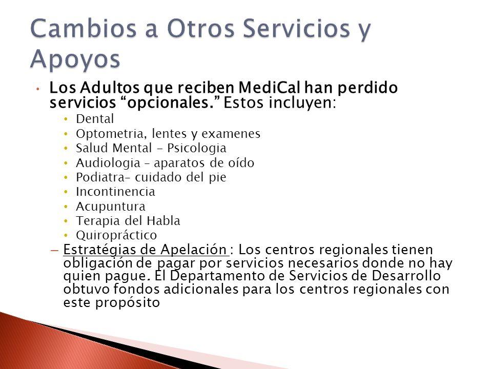 Los Adultos que reciben MediCal han perdido servicios opcionales. Estos incluyen: Dental Optometria, lentes y examenes Salud Mental - Psicologia Audio