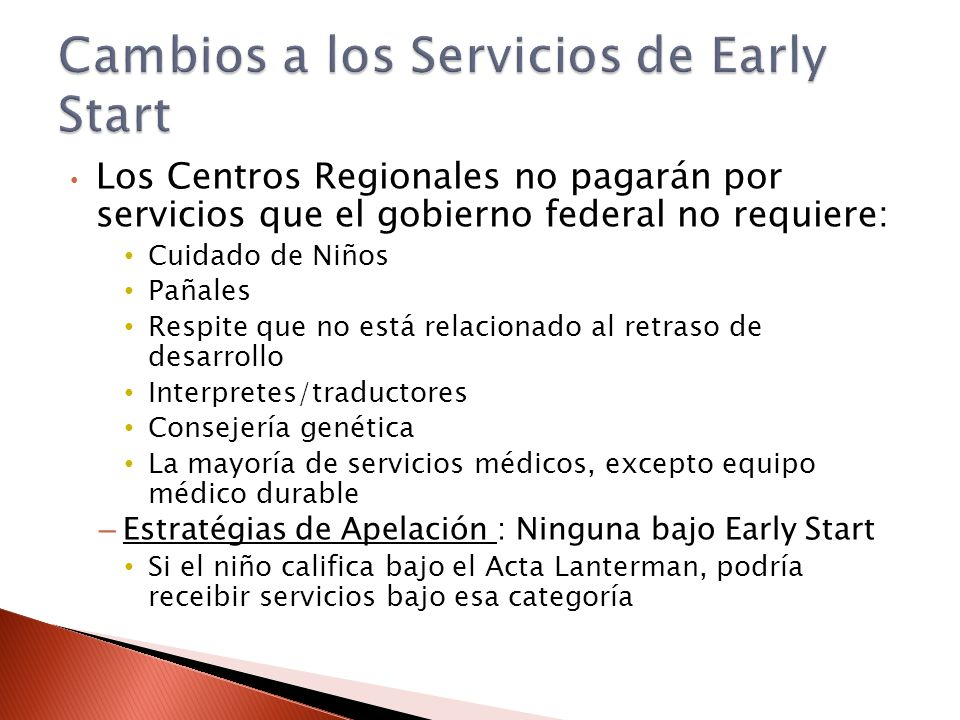 Los Centros Regionales no pagarán por servicios que el gobierno federal no requiere: Cuidado de Niños Pañales Respite que no está relacionado al retra